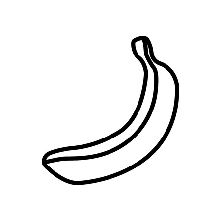 Fruit and berry collection - banana. Line icon of whole unpeeled banana. Vector Illustration