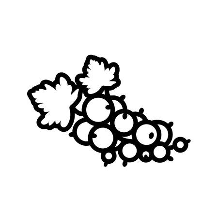 Obst- und Beerensammlung - Johannisbeere. Liniensymbol des Johannisbeerbündels mit Blättern. Vektorillustration