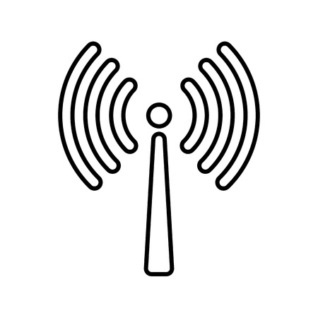 Signal transmission line icon. Antenna or broadcasting tower and signal waves. Vector Illustration