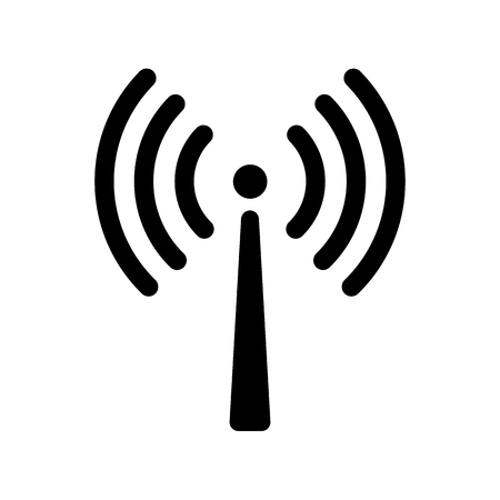 Signal transmission icon. Antenna or broadcasting tower and signal waves. Vector Illustration