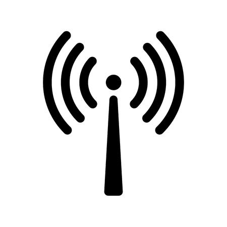 Symbol für die Signalübertragung. Antenne oder Sendeturm und Signalwellen. Vektorillustration Vektorgrafik