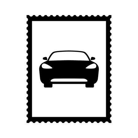 Postal stamp icon with car picture. Auto theme stamp with perforation holes. Vector Illustration