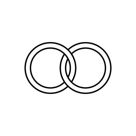 Icono de línea de anillos de matrimonio o compromiso. Anillos de novia para él y para ella. Ilustración vectorial