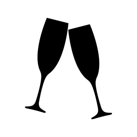 Clinking champagne glasses icon. Toasting with two glasses of champagne or sparkling wine. Vector Illustration