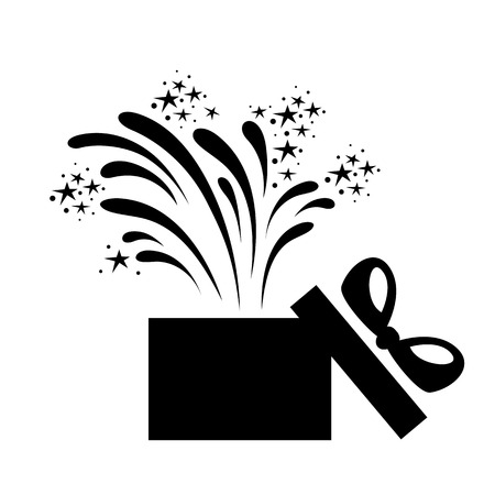 Holiday gift box icon. Festive box with presents and gifts and holiday fireworks. Vector Illustration