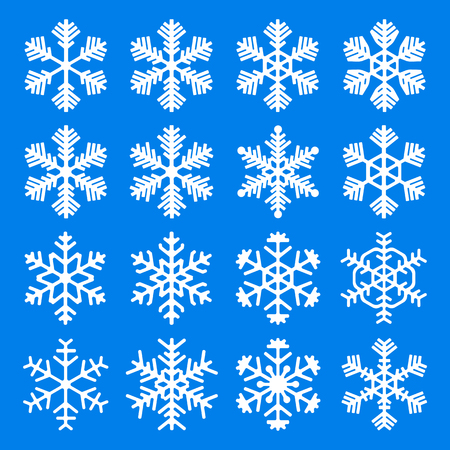 Set of snowflake icons. Beautiful snowflakes of different artistic shapes. Vector Illustration