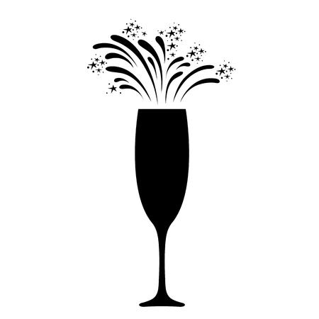 Champagne celebration icon. Festive champagne glass with sparkling fireworks. Vettoriali