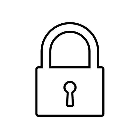 Padlock line icon. Closed lock representing security, restricted access, privacy.