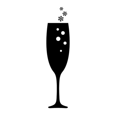 New years champagne glass icon. Champagne in holiday glass with bubbles and snowflakes. Vector Illustration Çizim