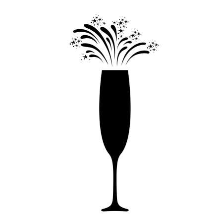 Champagne celebration icon. Festive champagne glass with sparkling fireworks. Vector Illustration