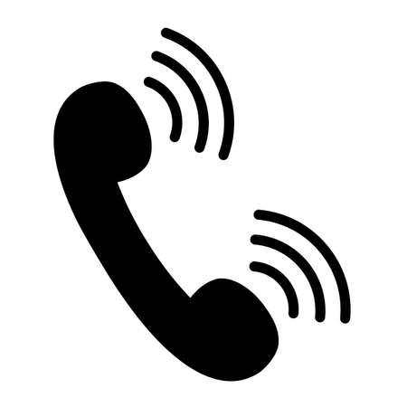 Phone call icon. Phone receiver with signal waves. Vector Illustration Illustration