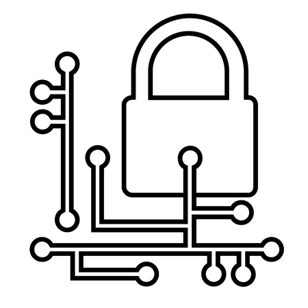 Web security line icon. Cyber security concept with padlock and circuit board. Vector Illustration