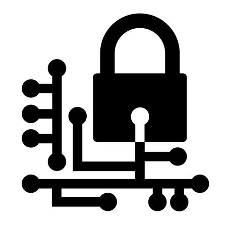 Symbol für Websicherheit. Cyber-Sicherheitskonzept mit Vorhängeschloss und Platine. Vektorillustration Vektorgrafik