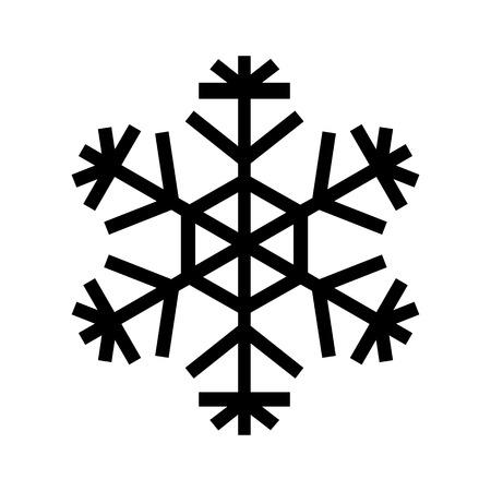 Snowflake icon. Beautiful six-branch snowflake of artistic shape. Vector Illustration