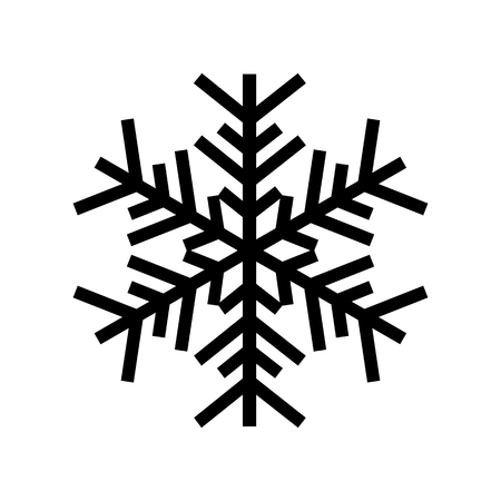 Snowflake icon. Beautiful six-branch snowflake of artistic shape. Vector Illustration