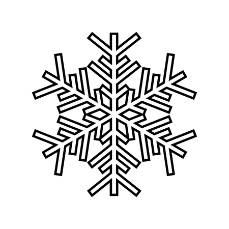 Snowflake line icon. Beautiful six-branch snowflake of artistic shape. Vector Illustration Vettoriali