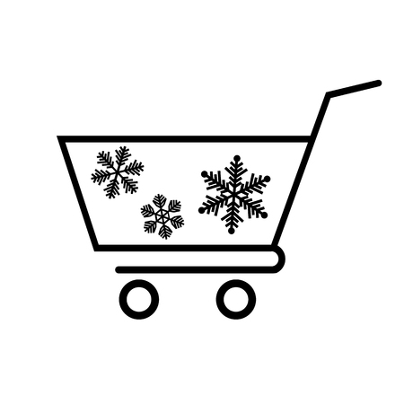 Winter shopping cart line icon. Supermarket cart or trolley with snowflakes. Vector Illustration