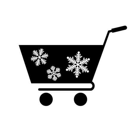 Winter shopping cart icon. Supermarket cart or trolley with snowflakes. Vector Illustration