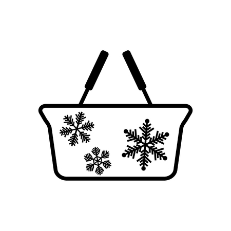 Winter grocery basket line icon. Holiday shopping basket with snowflakes. Vector Illustration