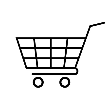 Shopping cart line icon. Big empty cart or trolley for groceries and merchandise. Vector Illustration
