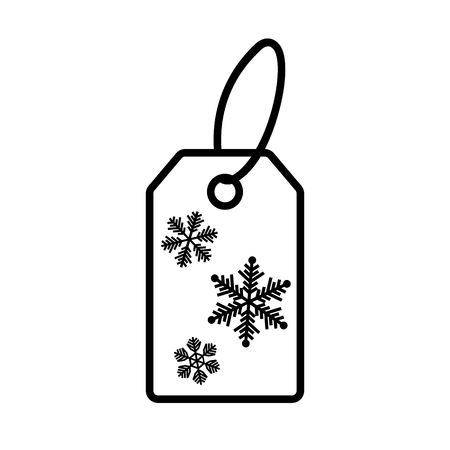 Line icon of winter shopping price tag. Special price label with snowflakes. Vector Illustration
