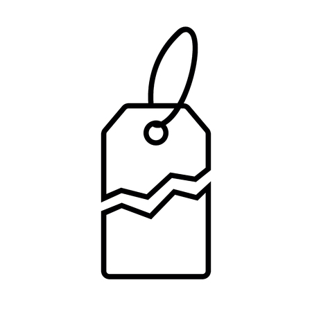 Torn price tag line icon. Label with price torn in half for sale or promotion. Vector Illustration  イラスト・ベクター素材