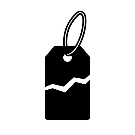 Torn price tag icon. Label with price torn in half for sale or promotion. Vector Illustration  イラスト・ベクター素材