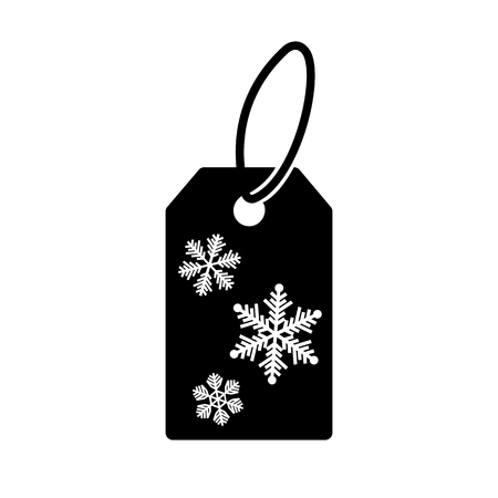Icon of winter shopping price tag. Special price label with snowflakes. Vector Illustration