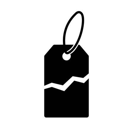 Torn price tag icon. Label with price torn in half for sale or promotion. Vector Illustration Ilustração
