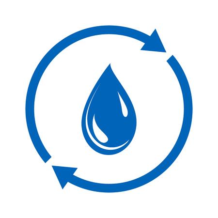 Icône de réutilisation de l'eau. Goutte d'eau et signe circulaire. Illustration vectorielle
