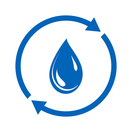 Water reuse icon. Drop of water and circular sign. Vector Illustration  イラスト・ベクター素材