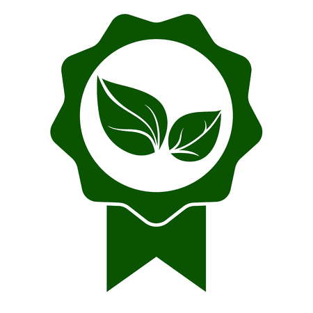 Green leaf seal icon. Official seal with eco, bio or organic sign. Vector Illustration Vettoriali