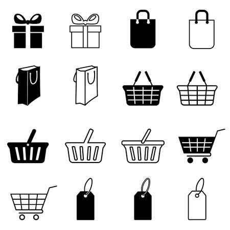 Set of shopping icons. Gift box, bag, shopping basket, supermarket cart and price tag. Vector Illustration