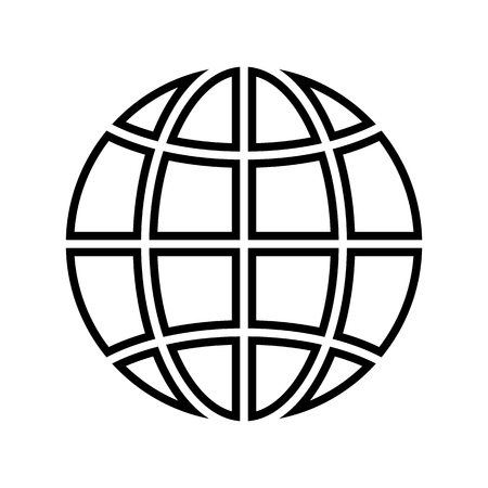 Globe line icon. World or planet earth symbol. Vector Illustration
