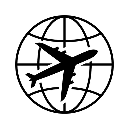 Air travel icon. Airplane and globe representing passenger or cargo transportation or long-distance travel. Vector Illustration Illusztráció