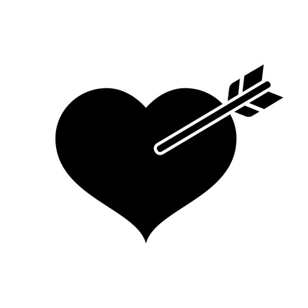 Heart in love icon. Heart pierced with Cupids arrow. Vector Illustration