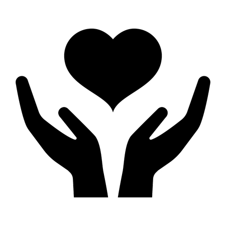 Icon of hands carefully holding heart. Symbol of love and care. Vector Illustration Vettoriali