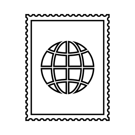 Postal stamp line icon with globe picture. International postal stamp with perforation holes. Vector Illustration