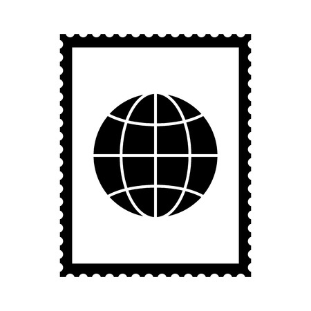 Postal stamp icon with globe picture. International postal stamp with perforation holes. Vector Illustration Ilustrace