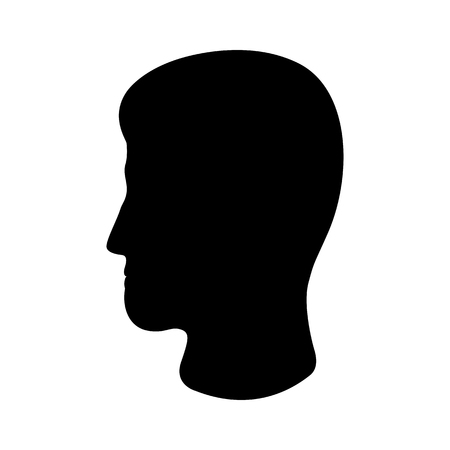 Man's head icon. Silhouette of male profile with visible haircut. Vector Illustration