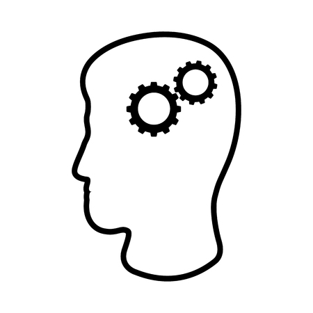 Line icon of mans head and cogwheels. Concept of rational and practical thinking. Vector Illustration