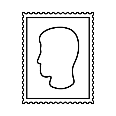 Postal stamp line icon with mans head. Portait postal stamp with perforation holes. Vector Illustration