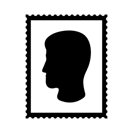 Postal stamp icon with mans head. Portait postal stamp with perforation holes. Vector Illustration Ilustrace
