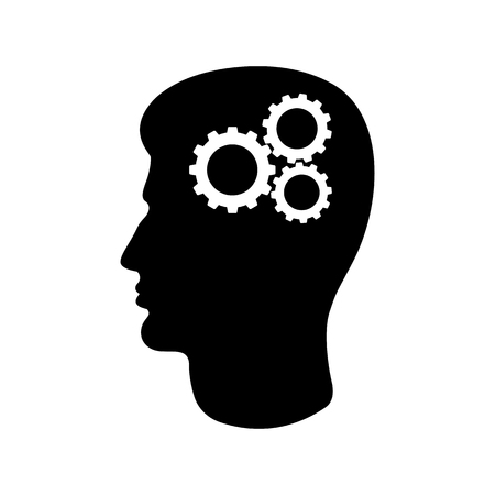 Icon of man's head and cogwheels. Concept of rational and practical thinking. Vector Illustration