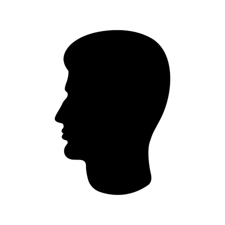 Man's head icon. Silhouette of male profile with visible haircut. Vector Illustration 向量圖像