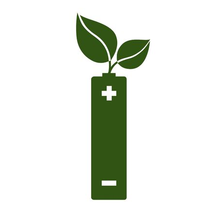Green energy or power icon. Battery with green leaves. Vector Illustration  イラスト・ベクター素材