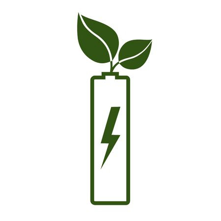 Green energy or power line icon. Battery with green leaves. Vector Illustration  イラスト・ベクター素材
