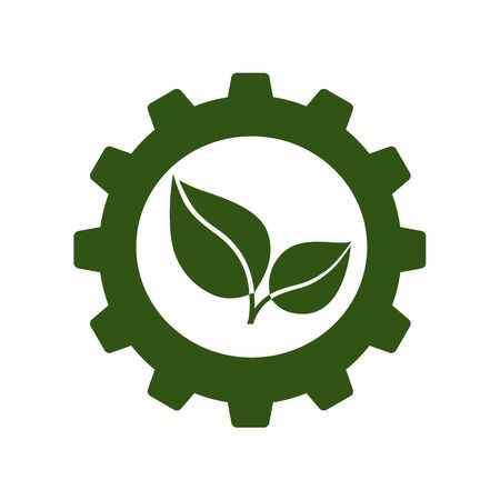 Green business or industry icon. Green leaves working  in cogwheel. Vector Illustration
