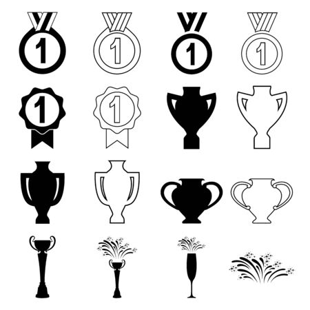 Set of trophy and award icons. Medals, honorary seals, trophy cups and celebrations. Vector Illustration