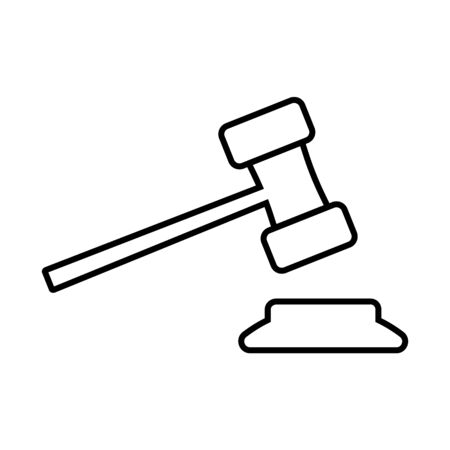 Gavel or ceremonial mallet line icon. Small hammer for court of law, auction, meeting or ceremony. Vector Illustration